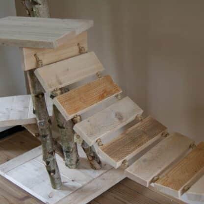 Katten brug bevestiging aan krabpaal van hout.