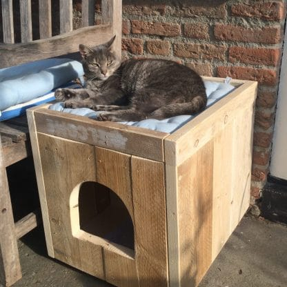 Kattenmeubel van steigerhout
